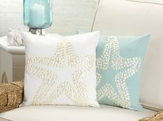 Starfish Design Throw Pillow with Mother of Pearl Button Design in Off-White traditional pillows