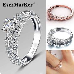 Ever maker  Just gorgeous flower line 925 Sterling Silver four-prong design round cut CZ inlaid ring, rose gold or silver?