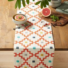 "Ziggurat 90"" Embroidered Table Runner 