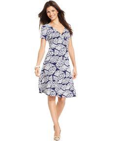 JM Collection Short-Sleeve Printed A-Line Dress - Dresses - Women - Macy's