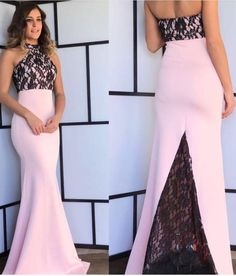 pink mermaid prom party dresses with black lace, #prom #promdress #dress #eveningdress #evening #fashion #love #shopping #art #dress #women #mermaid #SEXY #SexyGirl #PromDresses
