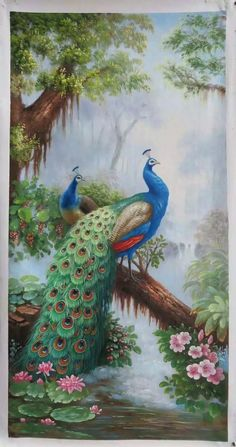 Peacock Artwork, Peacock Images, Peacock Pictures, Peacock Painting, Art Pictures, Indian Art Paintings, Animal Paintings, Landscape Art, Landscape Paintings