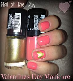 Easy pink & hearts Valentine's Day manicure