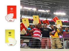 Pro Evolution Soccer promoted the game by handing out reversible yellow/red cards to fans at a soccer game