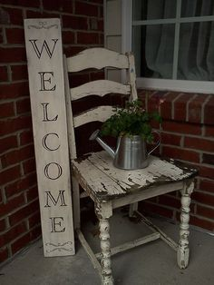 Friend provided the awesome chair and I made the sign. Pot from Target dollar bins and Columbine plant from Lowes. Welcome spring!!