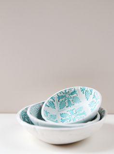 DIY: stamped clay bowls