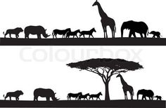 Stock vector of 'Safari animal silhouette'