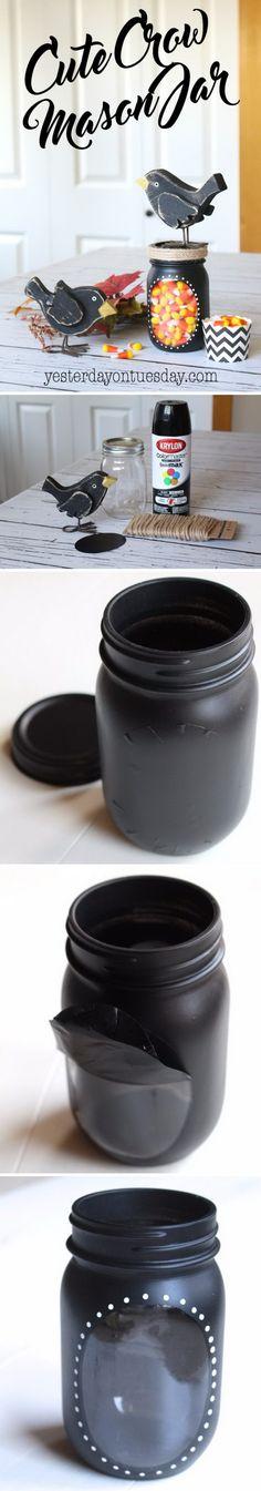DIY Crow Mason Jar.