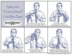 How to Tie a Four-in-Hand Necktie Knot Visual Guide - Art of Manliness - Photo Sharp Dressed Man, Well Dressed Men, Simple Tie Knot, Four In Hand Knot, Tie A Necktie, Lettering Guide, Men Are Men, Art Of Manliness, Every Man