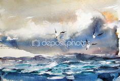 Чайки восход солнца. Акварельная живопись — стоковое изображение #112418378