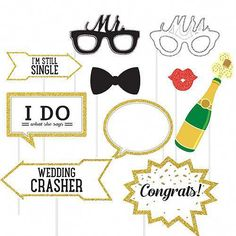 Funny Wedding Photos Wedding Photo Booth Props Party City - Wedding Photo Booth Props include cutouts shaped as pouty lips, champagne bottles, and funny sunglasses. Use these cute photo props at your wedding for an awesome photo op! Wedding Photo Booth Props, Funny Wedding Photos, Wedding Crashers, Champagne Bottles, Party Stores, Wedding Gifts, Wedding Ideas, Wedding Hair, Diy Wedding