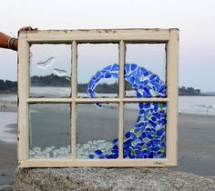 Coastal Art: Sea Glass or Beach Glass Ocean Wave and Seagulls from Coast to Cottage on Etsy and also located in Saco Maine. #coastalart