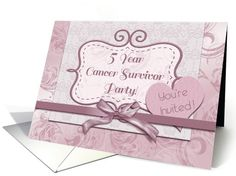 5 Year Cancer Survivor Party, Mauve... | Greeting Card Universe