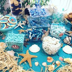 Under the sea dessert table mermaid parties Mermaid Bridal Showers, Beach Bridal Showers, Mermaid Parties, Mermaid Theme Birthday, Little Mermaid Birthday, Beach Dessert, Beach Themed Desserts, Beach Wedding Favors, Beach Engagement Party