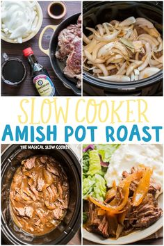 A few ingredients you wouldn't expect go into this recipe for Slow Cooker Amish Pot Roast! Though this is cooked in the slow cooker you will enjoy this Amish Pot Roast! Slow Cooker Roast, Crock Pot Slow Cooker, Crock Pot Cooking, Slow Cooker Recipes, Crockpot Dishes, Beef Dishes, Potatoes Crockpot, Carne Asada, Pot Roast Recipes