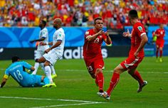 Xherdan Shaqiri of Switzerland celebrates scoring his team's second goal during the 2014 FIFA World Cup Brazil Group E match between Honduras and Switzerland at Arena Amazonia on June 25, 2014 in Manaus, Brazil.