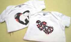 Set of 2 Baby T-shirts with Gray/Pink Fabric Applique Hearts