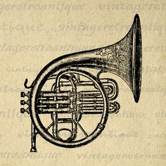 Printable French Horn Graphic Image Brass Instrument Download