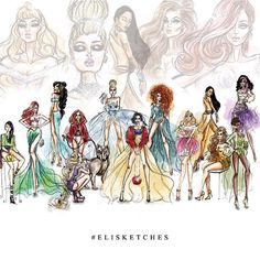 High Fashion Disney Princesses by #elisketches #fashionillustration #disneyprincess