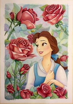 Michelle St Laurent Garden of Roses From Beauty and The Beast Gallery Wrapped Giclee On Canvas Disney Fine Art Disney Pixar, Fera Disney, Arte Disney, Disney And Dreamworks, Disney Animation, Belle Disney, Disney Princess Art, Disney Princess Paintings, Disney Princesses