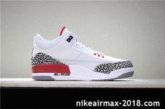 acc3420f627c Air Jordan 3 Retro Katrina 136064-116 Mens Sneaker White Gray Red Sneakers  N Stuff
