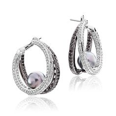 Perle Collection 18K White Gold Tahitian Pearl Hoop Earrings with White and…