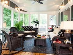 Designer Shelley Rodner works with a narrow footprint of a screened porch to create a functional and inviting outdoor living room on HGTV.com.