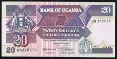 Uganda 1988 - Cédula no valor de 20 Shillings em estado flor de estampa! (Nunca usada ou dobrada).