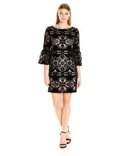 Eliza J Women's Bell Sleeve Velvet Dress