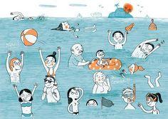 Brushstrokes in the world: Sunday summer: sun and beach / Sunday Summer: sol y playa / Summer Sunday: sun and beach Princess Stories, Puerto Vallarta, Illustration Art, Illustrations, Brush Strokes, Paper Cutting, Watercolor, Comics, Drawings