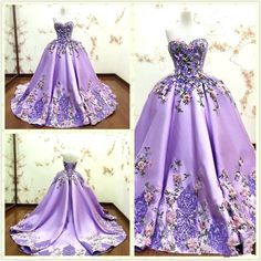 Luxury Purple Ball Gown Evening Dresses 3D-Floral Appliques Flower Lace Formal Prom Gowns Sweetheart Sleeveless Long Party Dress