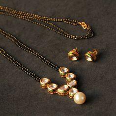Kundan drop shape handcrafted mangalsutra