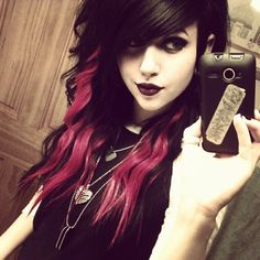 Black Hair with Pink Streaks--Going to let the cat out of the bag: I plan on doing my hair like this, only with black and purple. :D