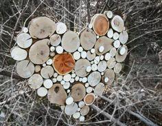 Maderas recicladas escultura de rodaja de árbol hecho a la