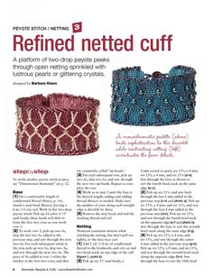 REFINED NETTED CUFF - FREE Tutorial by Barbara Clann. Page 1 of 2