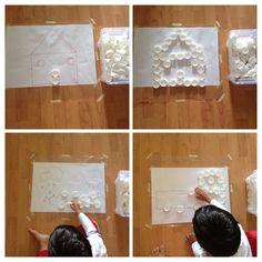 milk bottle cap, create pattern, contact paper