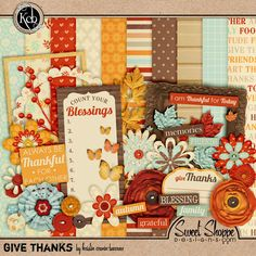 Quality DigiScrap Freebies: Give Thanks mini kit freebie from KristinCB Designs