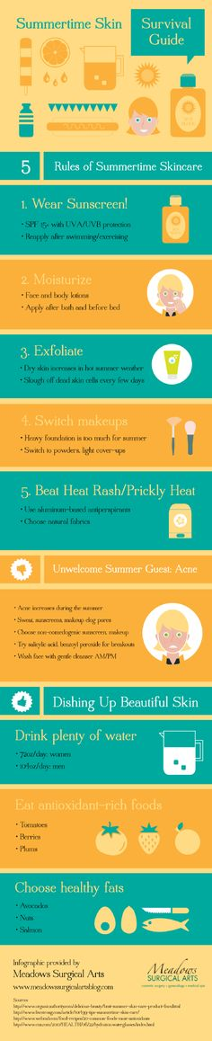 Summer heat can dry out the skin. Exfoliating helps get rid of dead cells to keep the skin lookingits best. Check out this infographic from a cosmetic surgery center in Gainesville for more summer skincare tips