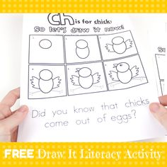 FREE Draw It Now Spring Chick Literacy Center-Easy to Prepare & Implement by Mrs. Miner's Monkey Business
