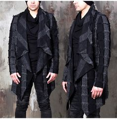 rebelsmarket_distressed_short_fringe_drape_collar_checkered_coat_132_coats_7.jpg