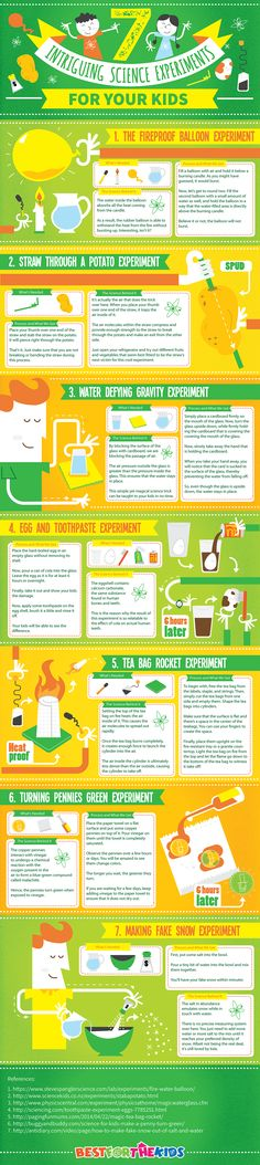 7 Intriguing Science Experiments for Kids Infographic - http://elearninginfographics.com/intriguing-science-experiments-kids-infographic/