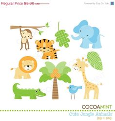 40% OFF SALE Cute Jungle Animals Clip Art