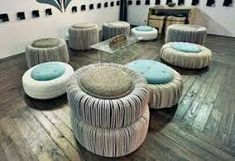 I adore these tire seats wrapped in rope and fabric. My favorite pin of all time! Tire Ottoman, Bed Table, Chair And Ottoman, Pouf Ottoman, Chair Bed, Tire Seats, Tire Chairs, Tire Furniture, Recycled Furniture