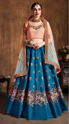 This Teal Blue Raw Silk Lehenga Choli has embroidery patch work. Sequins, Resham Thread And Dori Embroidery can be customized up to size 42 only. Soft net dupatta comes with lehenga choli. Raw Silk Lehenga, Blue Lehenga, Silk Dupatta, Lehenga Choli Designs, Churidar, Anarkali, Salwar Kameez, Kurti, Lehenga Choli Online