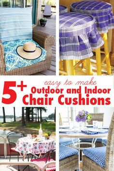 Easy Ways to Make Indoor and Outdoor Chair Cushion Covers Outdoor Chair Cushions Diy, Patio Furniture Cushions, Dining Chair Cushions, Diy Chair, Dining Chairs, Seat Cushions, Outdoor Pillow, Patio Chairs, Outdoor Fabric