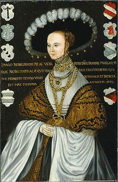 """Margareta Eriksdotter Vasa, 1497-1537. Sister of Gustav (Vasa) I of Sweden.  Her short life was full of incident and drama:  her first husband and her father were murdered in the """"Swedish bloodbath""""; she was imprisoned in Denmark where her mother and sisters died; was held captive; quarrelled w/her brother the king; fled Sweden; died in exile in Talinn, etc."""
