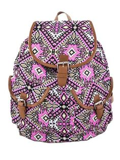 Iconic Pattern Pink Canvas Fiona Backpack  #stellasaksa #iconic #pink #canvas #fiona #backpack