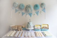 Blue and Gray Elephant Dessert Table | Blue and Gray Elephant Baby Shower Ideas