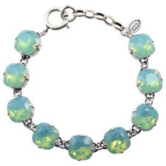 "Catherine Popesco Rounded Square Tennis Bracelet, La Vie Parisienne Silver Plated with Green Swarovski Crystal, 8"" 1696 PAC"