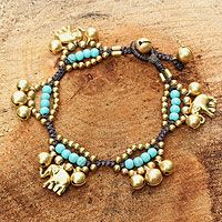 Brass charm bracelet, 'Fortune's Blue Melody' by NOVICA